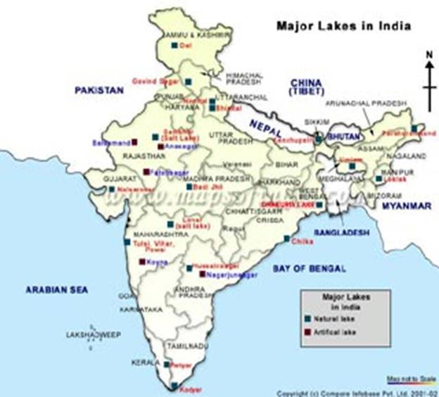 india map with lakes Major Lakes Map Of India india map with lakes